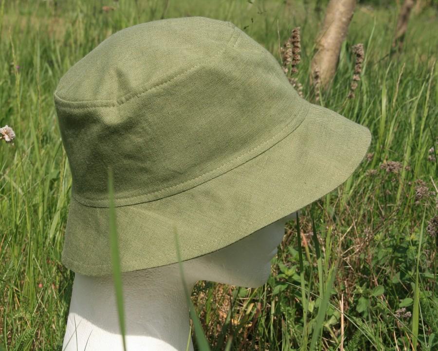 męski kapelusz z lnu, bok