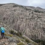 Mare a monti- odcinek Revinda-Marignana przecina skalisty głęboki wąwóz, Korsyka, styczeń