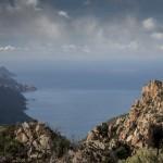 Korsyka, widok na Porto z grani powyżej Ota