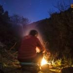 biwak i ognisko, Korsyka, styczeń