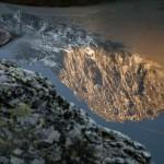 Pic de Montabona, odbity w stawie, Pireneje, listopad