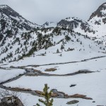 Pireneje, kwiecień , rozlewiska koło Cabane Sabine