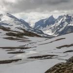 już na 1200 metrach Sognefjellet pokrywał śnieg