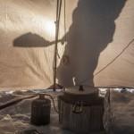 gotowanie w opróżnionym namiocie