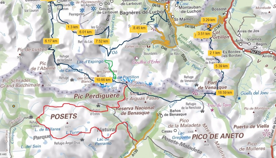 mapa Pireneje